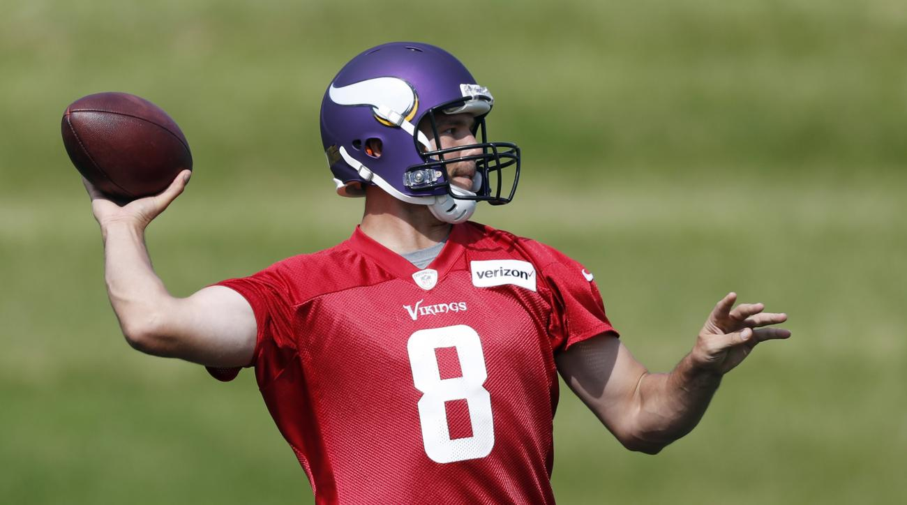 Minnesota Vikings quarterback Sam Bradford throws a pass during practice Monday Sept. 5, 2016, in Eden Prairie, Minn. The Philadelphia Eagles traded Bradford to the Vikings on Saturday, for a pair of draft picks. (Jerry Holt/Star Tribune via AP)