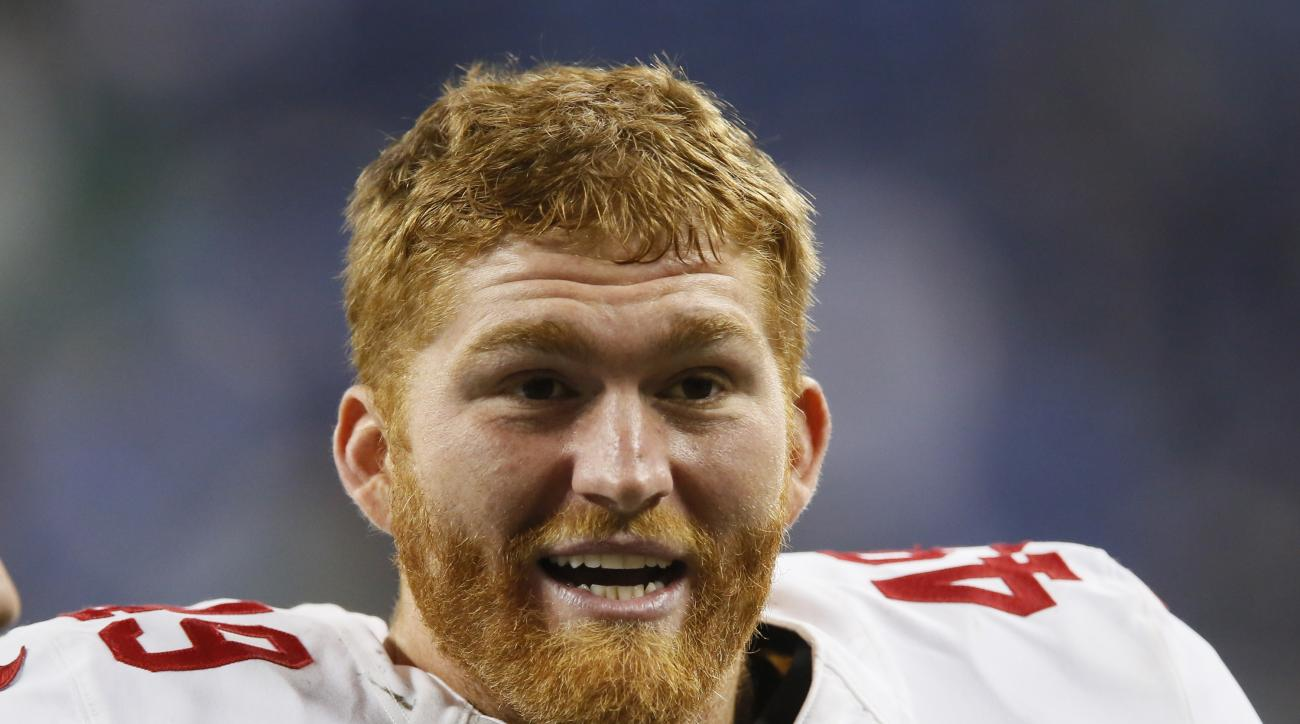 FILE - This Sunday, Dec. 27, 2015, file photo shows San Francisco 49ers fullback Bruce Miller (49) following an NFL football game against the Detroit Lions in Detroit. The San Francisco 49ers released Miller on Monday, Sept. 5, 2016, just hours after repo