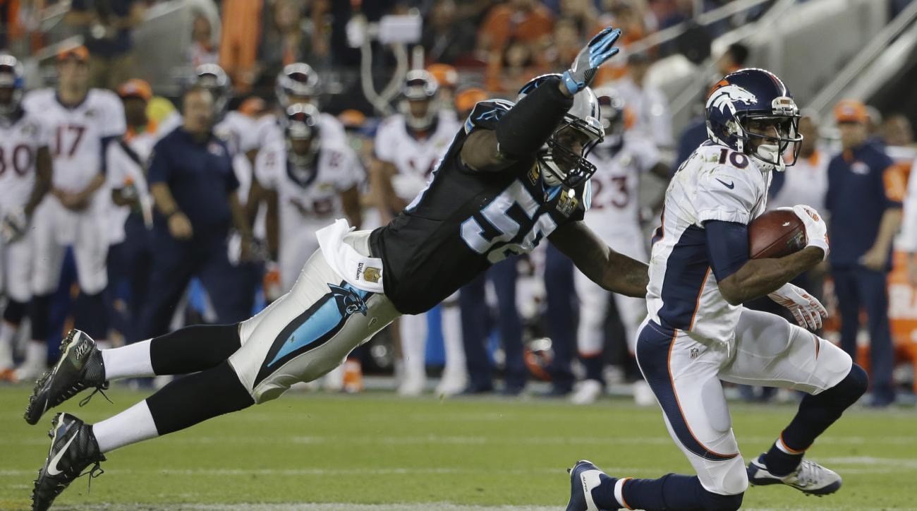 FILE - In this Feb. 7, 2016, file photo, Carolina Panthers' Thomas Davis (58) dives for Denver Broncos' Emmanuel Sanders (10) during the second half of the NFL Super Bowl 50 football game, in Santa Clara, Calif. Panthers linebacker Thomas Davis, entering