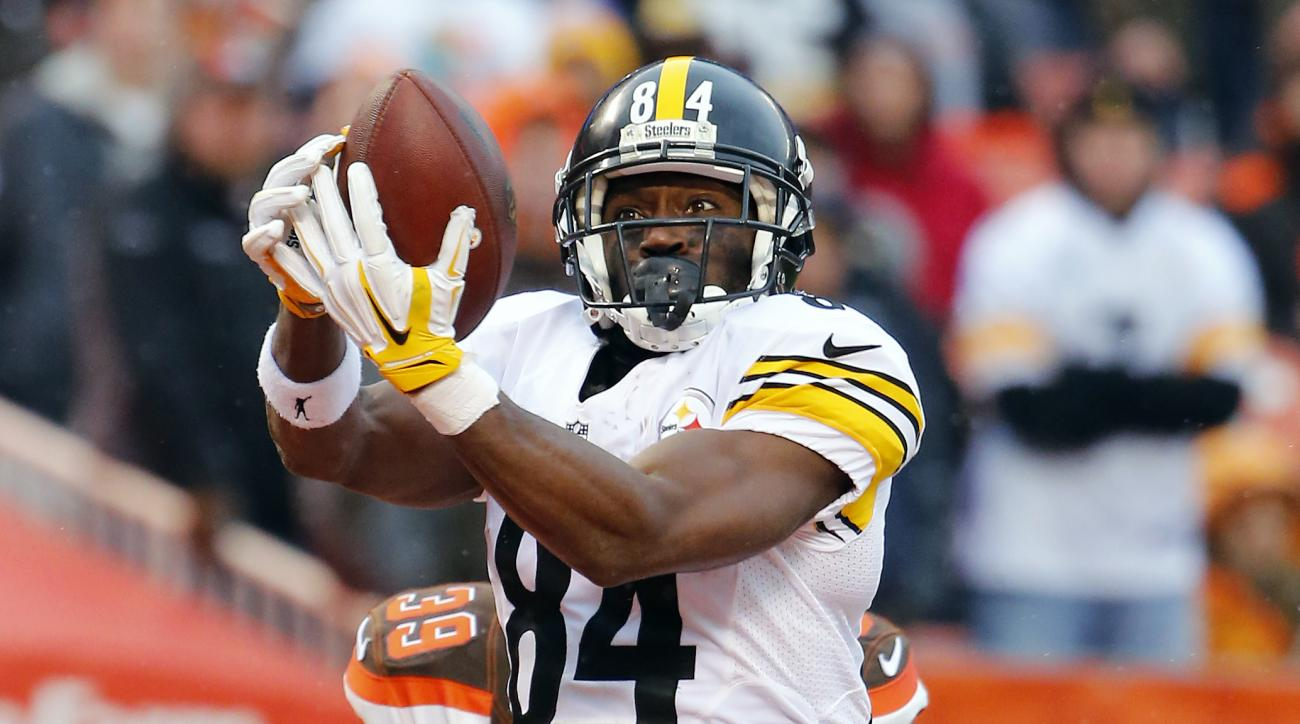 FILE - In this Jan. 3, 2016, file photo, Pittsburgh Steelers wide receiver Antonio Brown catches a touchdown pass against the Cleveland Browns during an NFL football game in Cleveland, Ohio. After the customary season-opening flyover, keep your eyes in th
