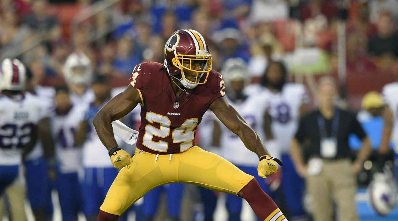 FILE - In this Aug. 26, 2016, file photo, Washington Redskins defensive back Josh Norman reacts during the first half of an NFL preseason football game against the Buffalo Bills, in Landover, Md. Pittsburghs ground game can still keep Washington honest, b