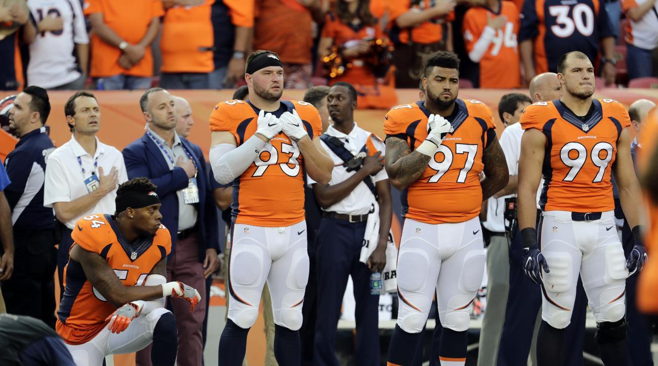 Denver Broncos inside linebacker Brandon Marshall (54) kneels during the National Anthem prior to an NFL football game against the Carolina Panthers, Thursday, Sept. 8, 2016, in Denver. (AP Photo/Joe Mahoney)