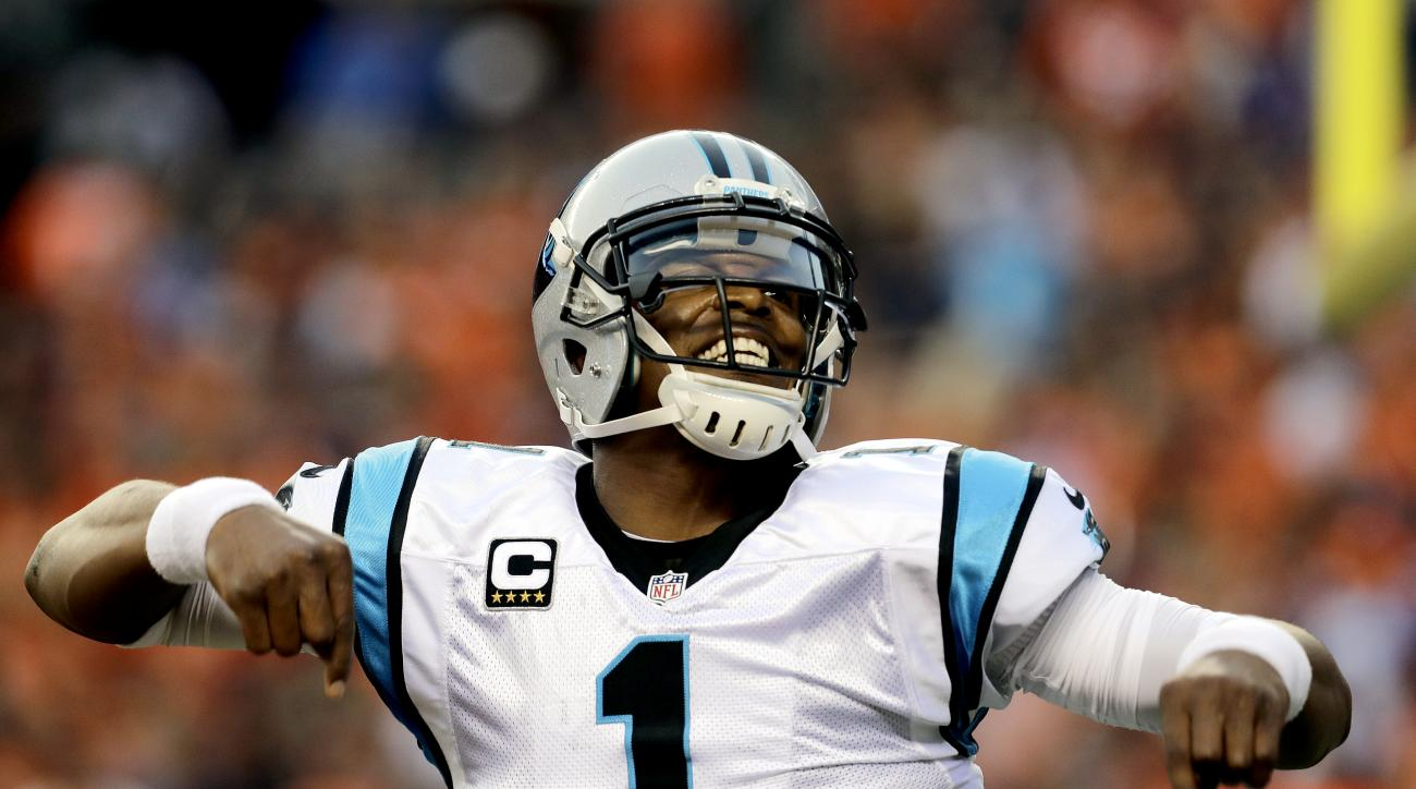 Carolina Panthers quarterback Cam Newton (1) celebrates a touchdown pass against the Denver Broncos during the first half of an NFL football game, Thursday, Sept. 8, 2016, in Denver. (AP Photo/Joe Mahoney)