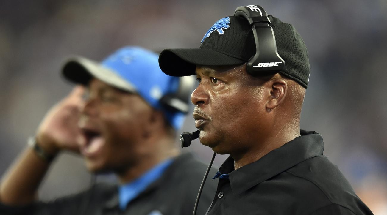 FILE - In this Aug. 27, 2016, file photo, Detroit Lions head coach Jim Caldwell, right, watches from the sideline in the first half of a preseason NFL football game against the Baltimore Ravens in Baltimore. The Lions open the season on the road Sunday ag