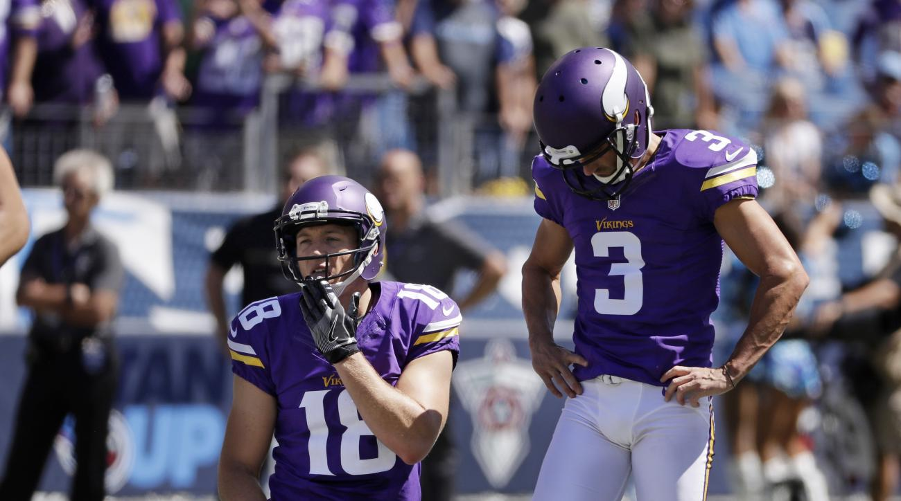 Minnesota Vikings kicker Blair Walsh (3) reacts to missing a 56-yard field goal attempt against the Tennessee Titans in the first half of an NFL football game Sunday, Sept. 11, 2016, in Nashville, Tenn. At left is holder Jeff Locke (18). (AP Photo/James K