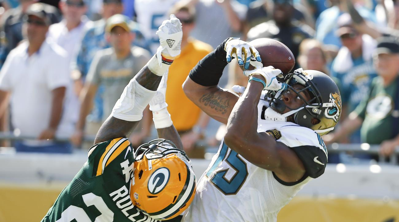 Green Bay Packers cornerback Quinten Rollins (24) breaks up a pass intended for Jacksonville Jaguars wide receiver Allen Robinson, right, during the second half of an NFL football game in Jacksonville, Fla., Sunday, Sept. 11, 2016. (AP Photo/Stephen B. Mo