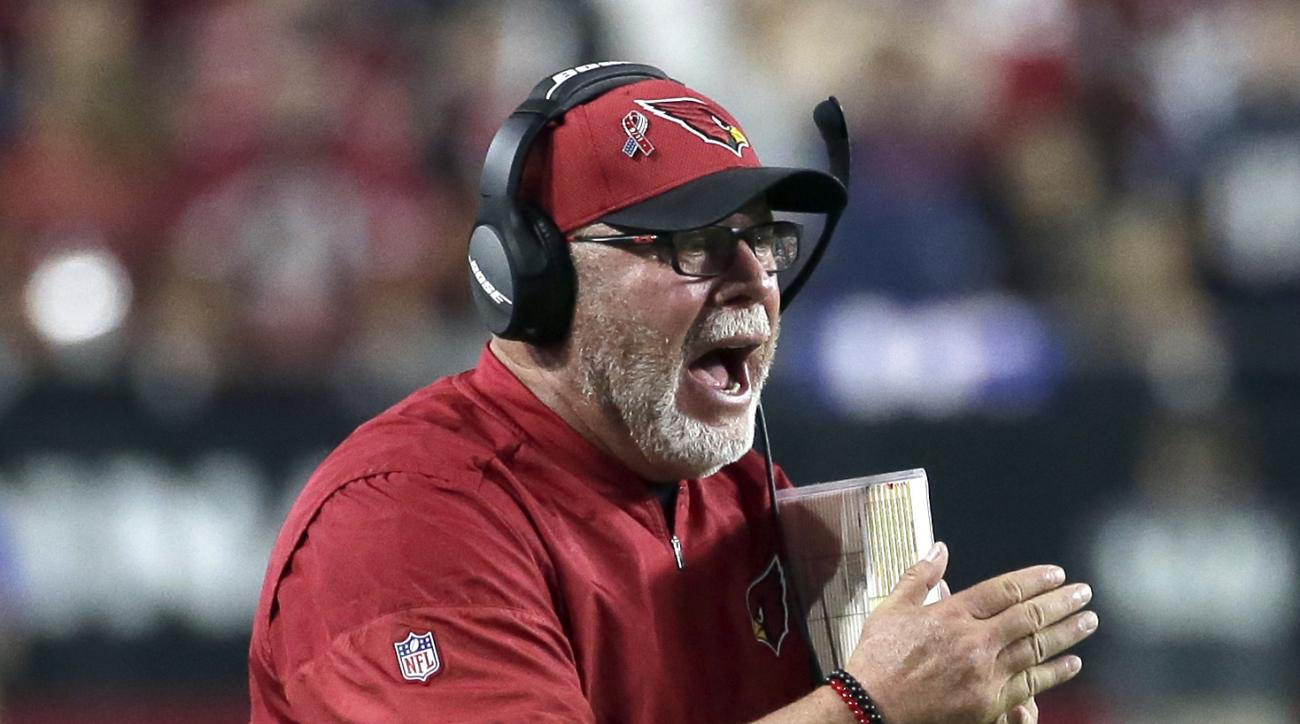 Arizona Cardinals head coach Bruce Arians yells during the second half of an NFL football game against the New England Patriots, Sunday, Sept. 11, 2016, in Glendale, Ariz. (AP Photo/Rick Scuteri)