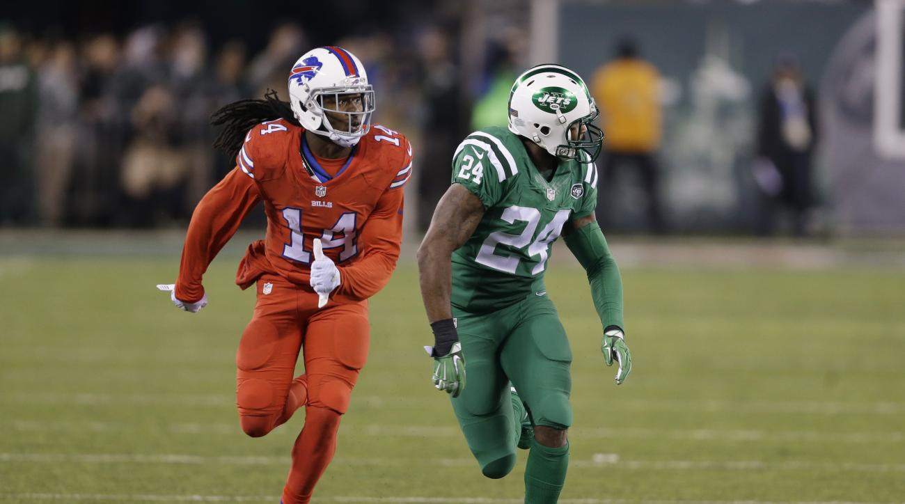 FILE - In this Nov. 12, 2015, file photo, Buffalo Bills wide receiver Sammy Watkins, left, is defended by New York Jets cornerback Darrelle Revis during the first half of an NFL football game, in East Rutherford, N.J. The NFL isn't colorblind to the conce