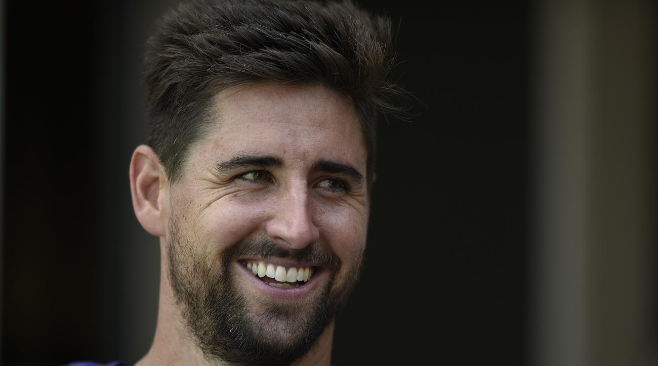 FILE - In this July 29, 2016, file photo, Baltimore Ravens tight end Dennis Pitta smiles before being interviewed after practice at the NFL football teams training camp, in Owings Mills, Md. Two serious hip injuries and a broken finger wasn't enough to st