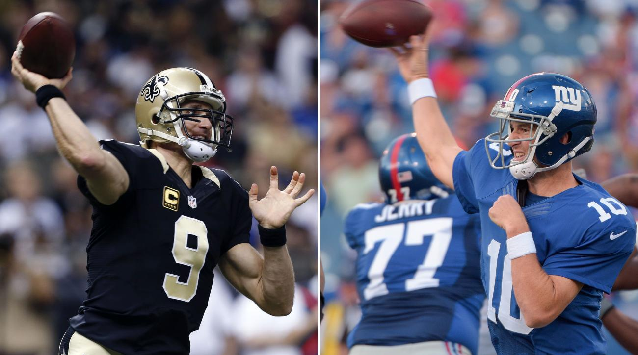 FILE - At left, in a Nov. 1, 2015, file photo, New Orleans Saints quarterback Drew Brees (9) passes in the first half of an NFL football game against the New York Giants in New Orleans. At right, in an Aug. 20, 2016, file photo, New York Giants quarterbac