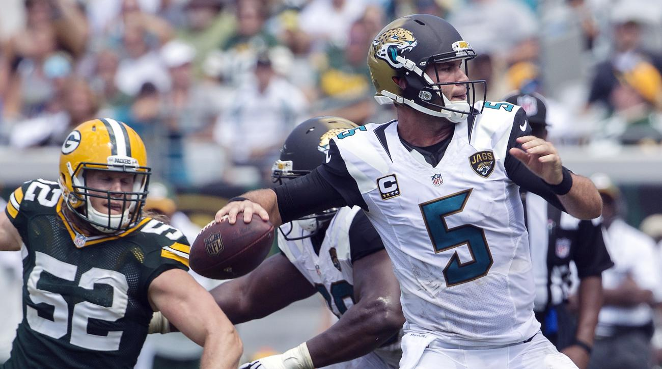 FILE - In this Sunday, Sept. 11, 2016 file phot, Green Bay Packers inside linebacker Clay Matthews (52) rushes Jacksonville Jaguars quarterback Blake Bortles (5) during the second half of an NFL football game in Jacksonville, Fla. The sense of urgency is