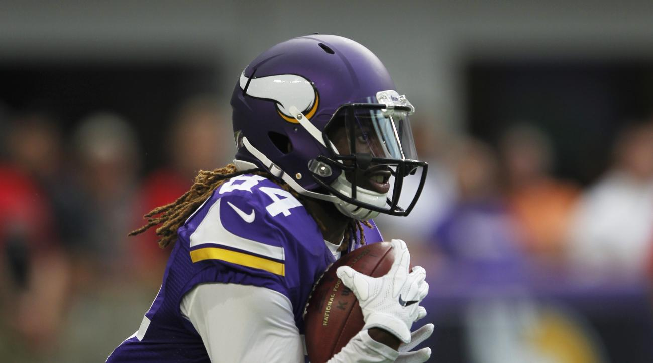 FILE - In this Aug. 28, 2016, file photo, Minnesota Vikings wide receiver Cordarrelle Patterson runs up field during the first half of an NFL preseason football game against the San Diego Chargers in Minneapolis. Patterson has enjoyed some of the longest