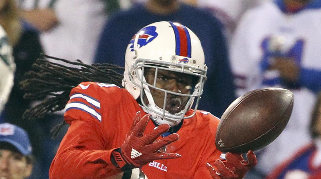 New York Jets cornerback Marcus Williams (20) breaks up a pass for Buffalo Bills wide receiver Sammy Watkins (14) during the second half an NFL football game on Thursday, Sept. 15, 2016, in Orchard Park, N.Y. The Jets won 37-31. (AP Photo/Bill Wippert)