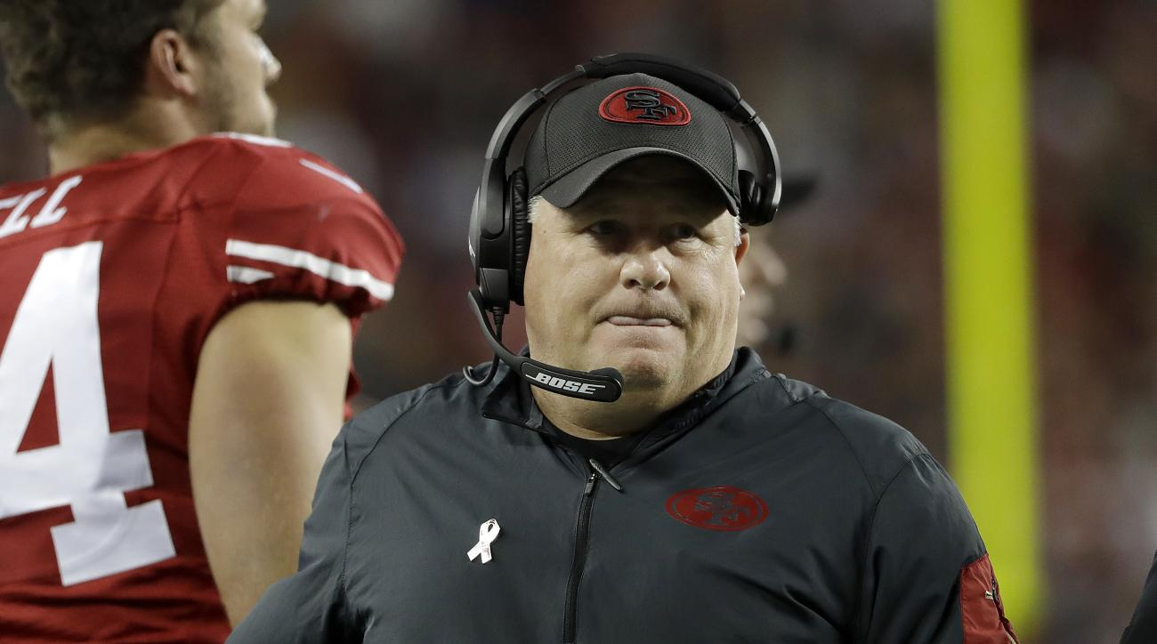 FILE - In this Monday, Sept. 12, 2016, file photo, San Francisco 49ers head coach Chip Kelly works the sideling during the second half of an NFL football game against the Los Angeles Rams in Santa Clara, Calif. Carolinas dual-threat quarterback Cam Newton