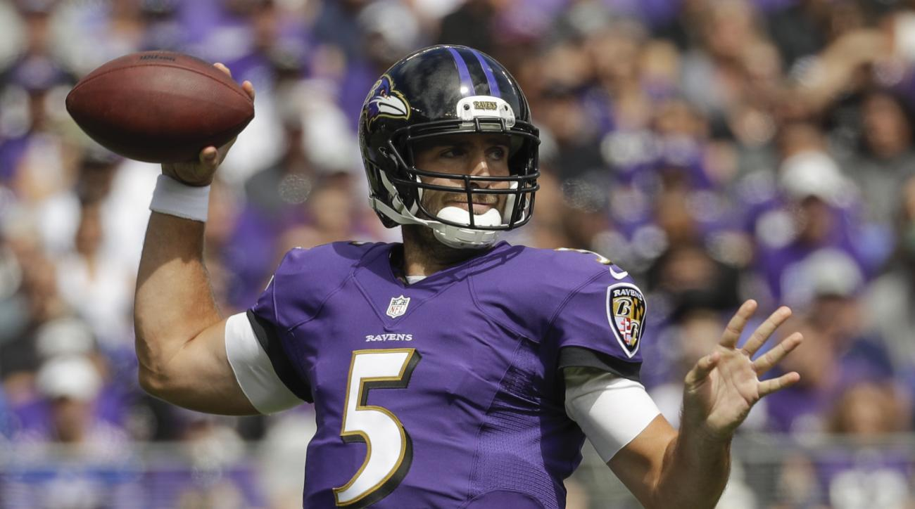 FILE- In this Sunday, Sept. 11, 2016, file phot, Baltimore Ravens quarterback Joe Flacco throws a pass during the first half of an NFL football game against the Buffalo Bills in Baltimore. Back from a knee injury that cost him most of last season, Flacco