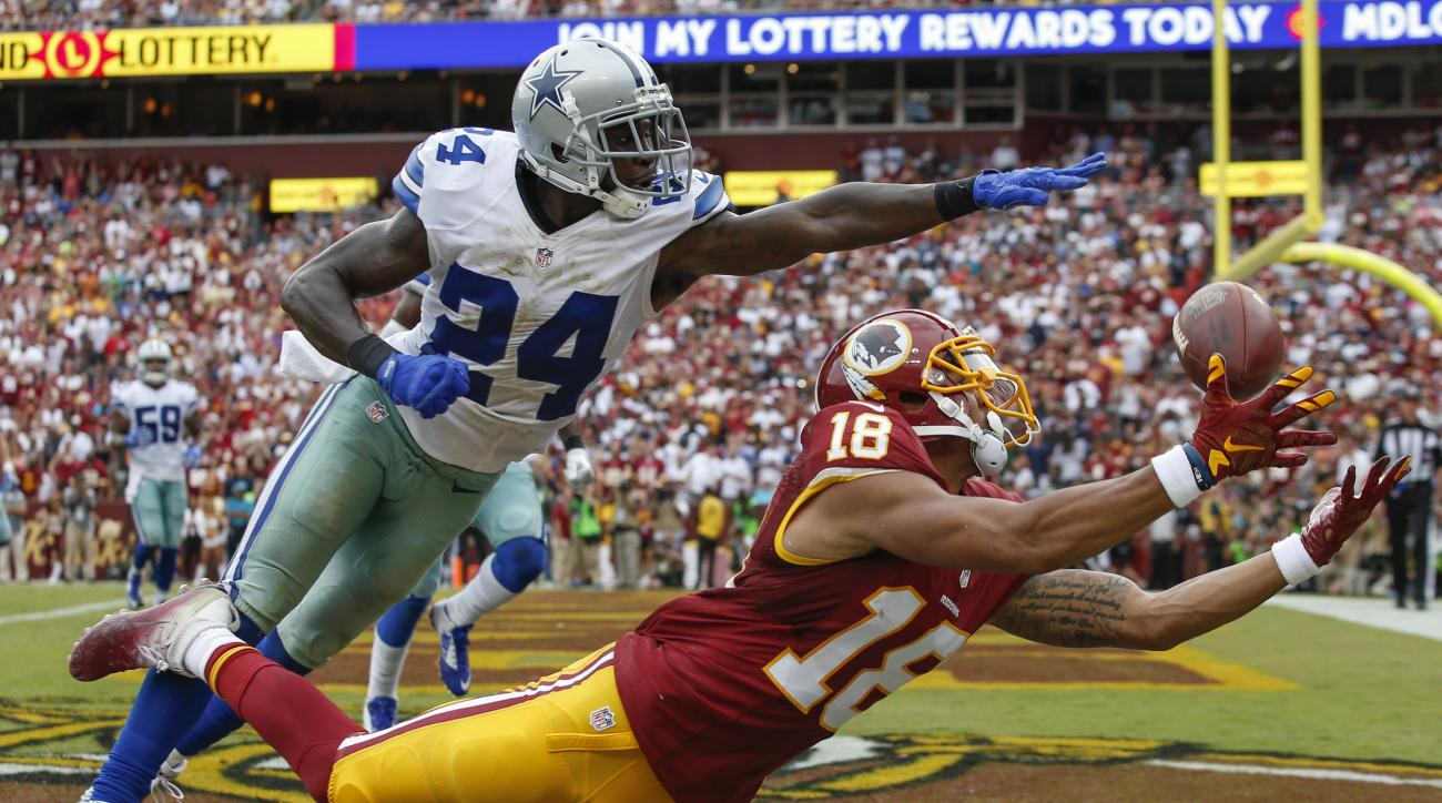 Dallas Cowboys cornerback Morris Claiborne (24) breaks up a pass intended for Washington Redskins wide receiver Josh Doctson (18) in the end zone during the second half of an NFL football game in Landover, Md., Sunday, Sept. 18, 2016. (AP Photo/Alex Brand