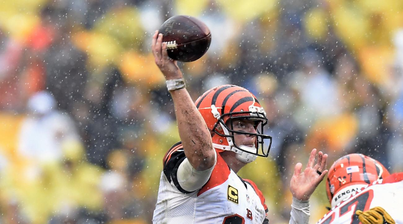 Cincinnati Bengals quarterback Andy Dalton (14) throws a touchdown pass to running back Giovani Bernard during the second half of an NFL football game against the Pittsburgh Steelers in Pittsburgh, Sunday, Sept. 18, 2016. (AP Photo/Don Wright)