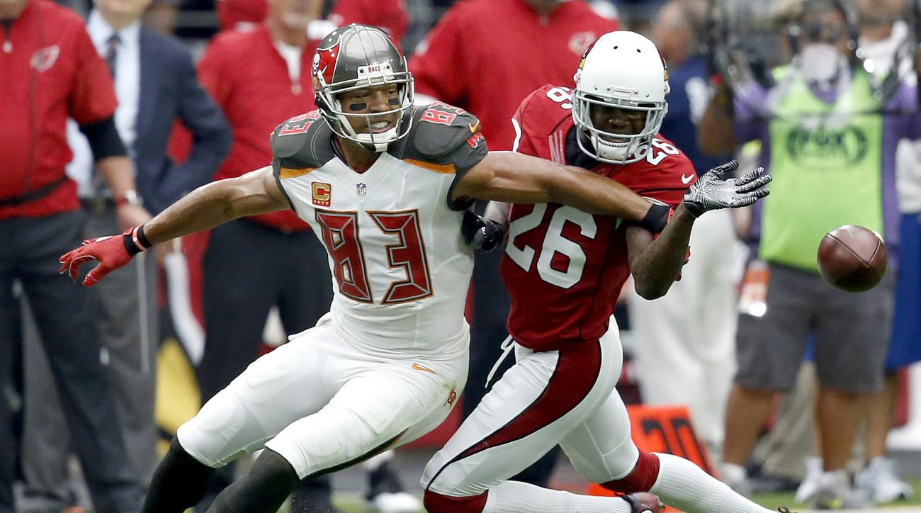 Arizona Cardinals cornerback Brandon Williams (26) breaks up a pass intense for Tampa Bay Buccaneers wide receiver Vincent Jackson (83) during the first half of an NFL football game, Sunday, Sept. 18, 2016, in Glendale, Ariz. (AP Photo/Ross D. Franklin)