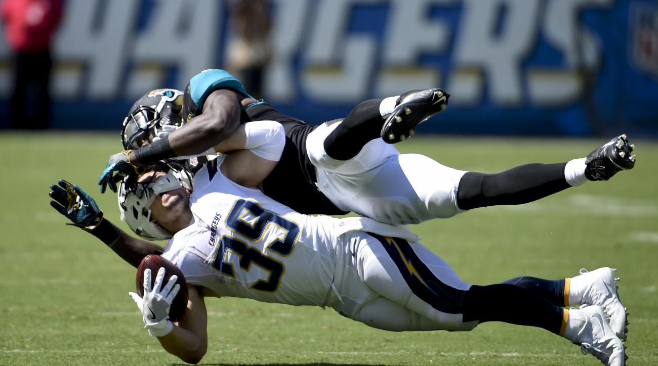 San Diego Chargers running back Danny Woodhead, below, is brought down by Jacksonville Jaguars outside linebacker Telvin Smith (50) during the first half of an NFL football game Sunday, Sept. 18, 2016, in San Diego. (AP Photo/Denis Poroy)