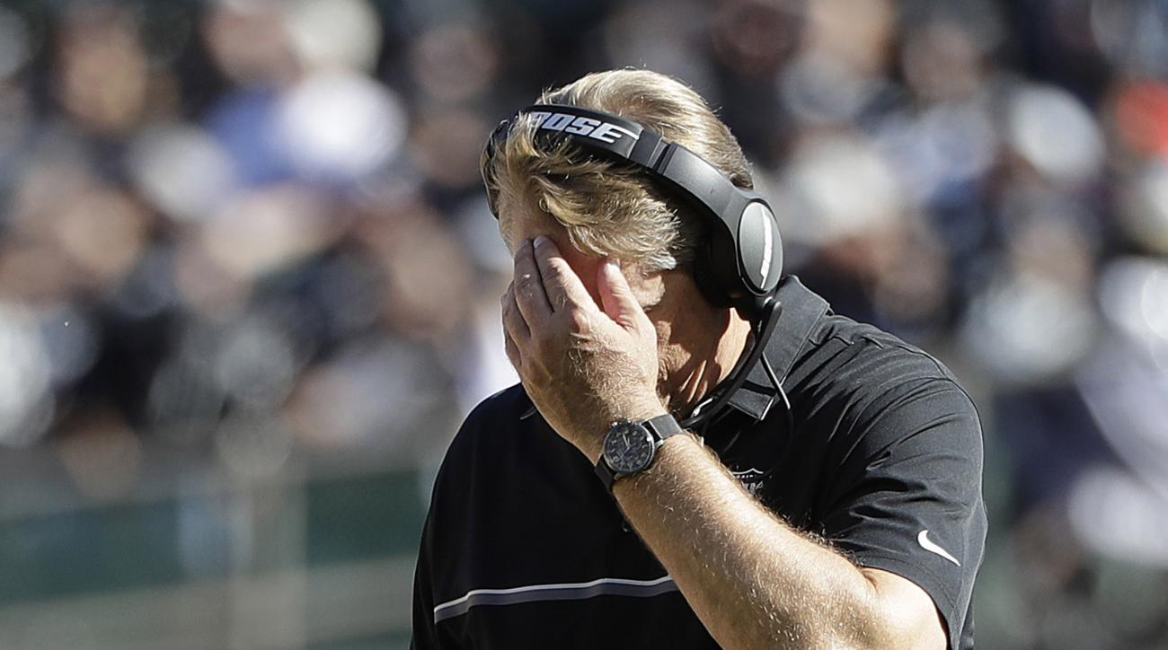 Oakland Raiders head coach Jack Del Rio walks on the field during the second half of an NFL football game against the Atlanta Falcons in Oakland, Calif., Sunday, Sept. 18, 2016. (AP Photo/Marcio Jose Sanchez)