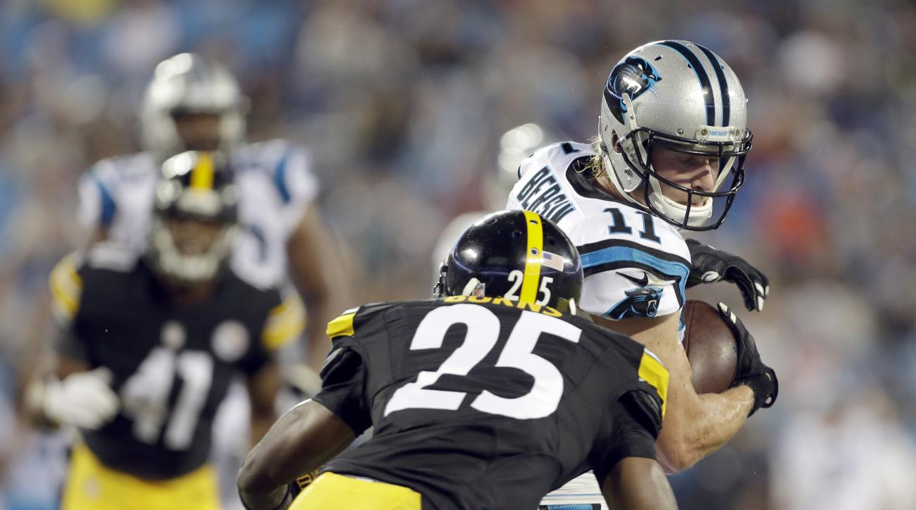 FILE - In this Sept. 1, 2016, file photo, Carolina Panthers' Brenton Bersin (11) prepares to protect the football as he looks for the hit from Pittsburgh Steelers' Artie Burns (25) during the second half of an NFL preseason football game in Charlotte, N.C