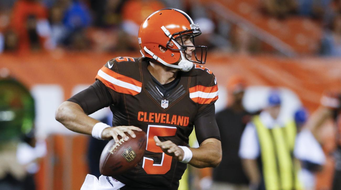 FILE - In this Sept. 1, 2016, file photo, Cleveland Browns quarterback Cody Kessler (5) looks to pass in the second half of an NFL preseason football game against the Chicago Bears, in Cleveland. Kessler is playing sooner than expected because of injuries
