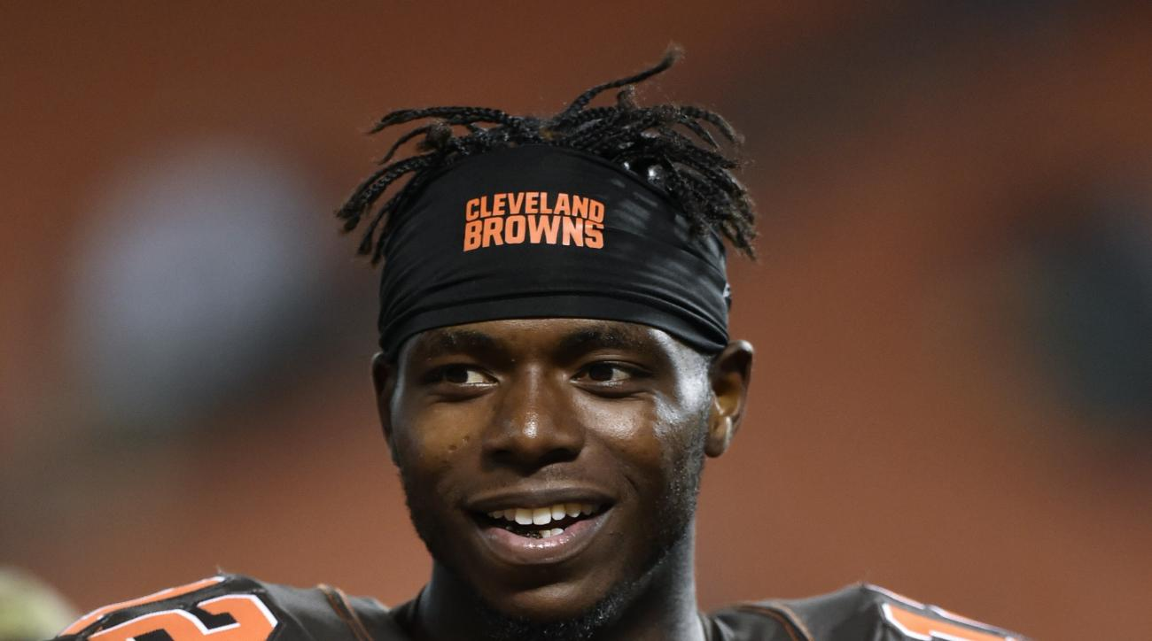 FILE - In this Sept. 1, 2016, file photo, Cleveland Browns wide receiver Josh Gordon walks off the field after an NFL preseason football game, in Cleveland. Suspended Browns wide receiver Josh Gordon has had an arrest warrant issued against him in a pater