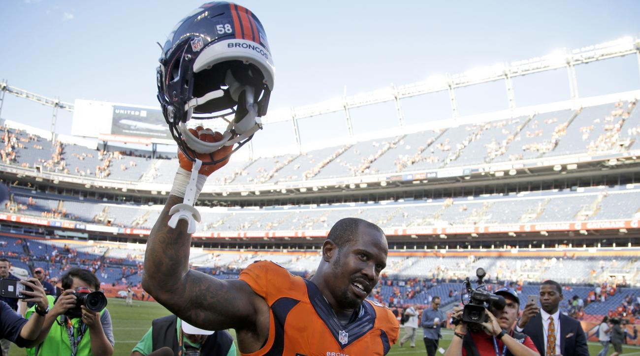 FILE- In this Sunday, Sept. 18, 2016, file photo, Denver Broncos outside linebacker Von Miller celebrates after a win over the Indianapolis Colts in an NFL football game in Denver.  The Broncos' star pass rusher has four sacks already, including the game-
