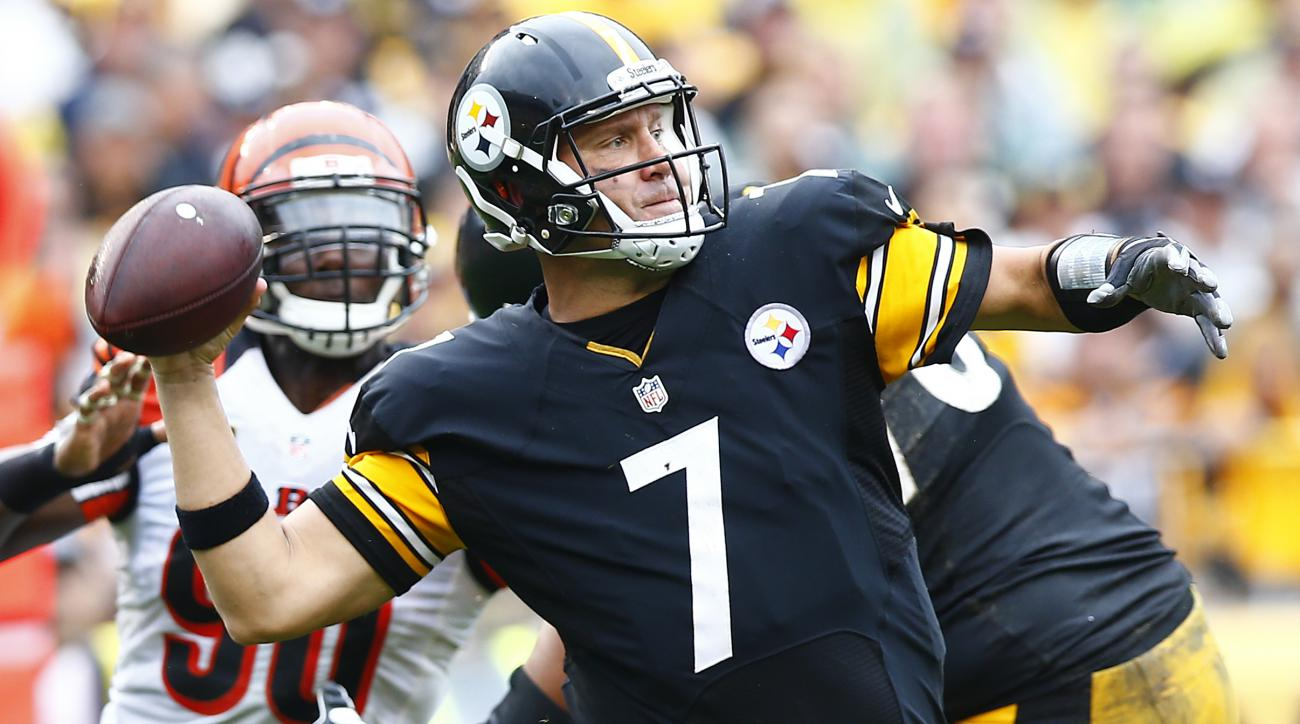 FILE - In this Sunday, Sept. 18, 2016, file photo, Pittsburgh Steelers quarterback Ben Roethlisberger (7) throws a pass against the Cincinnati Bengals during the first half of an NFL football game in Pittsburgh. The Eagles Carson Wentz's excellent start i