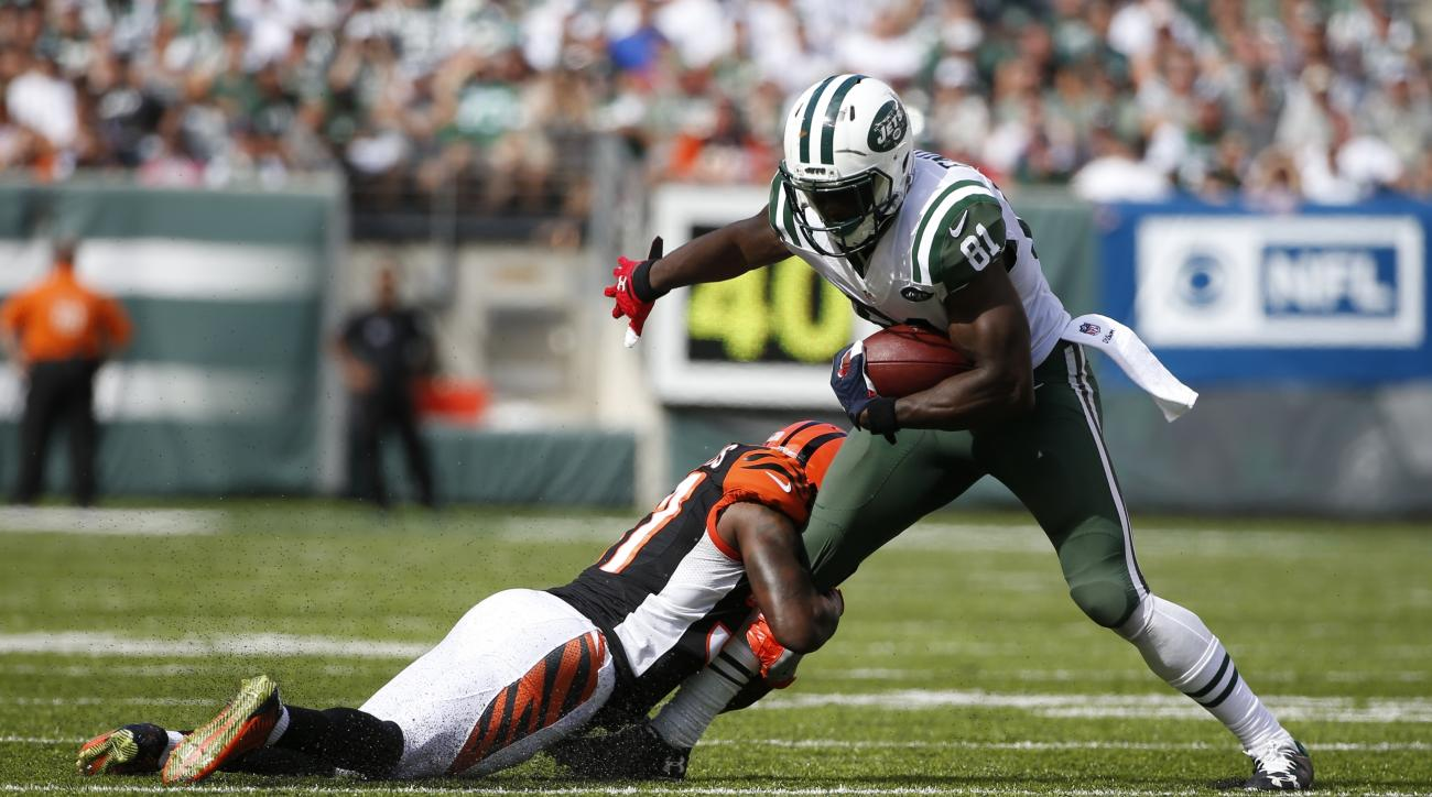 FILE - In this Sunday, Sept. 11, 2016, file photo, Cincinnati Bengals' Chris Lewis-Harris (37) tackles New York Jets' Quincy Enunwa (81) during the second half of an NFL football game in East Rutherford, N.J. Through two games, Enunwa is leading the Jets