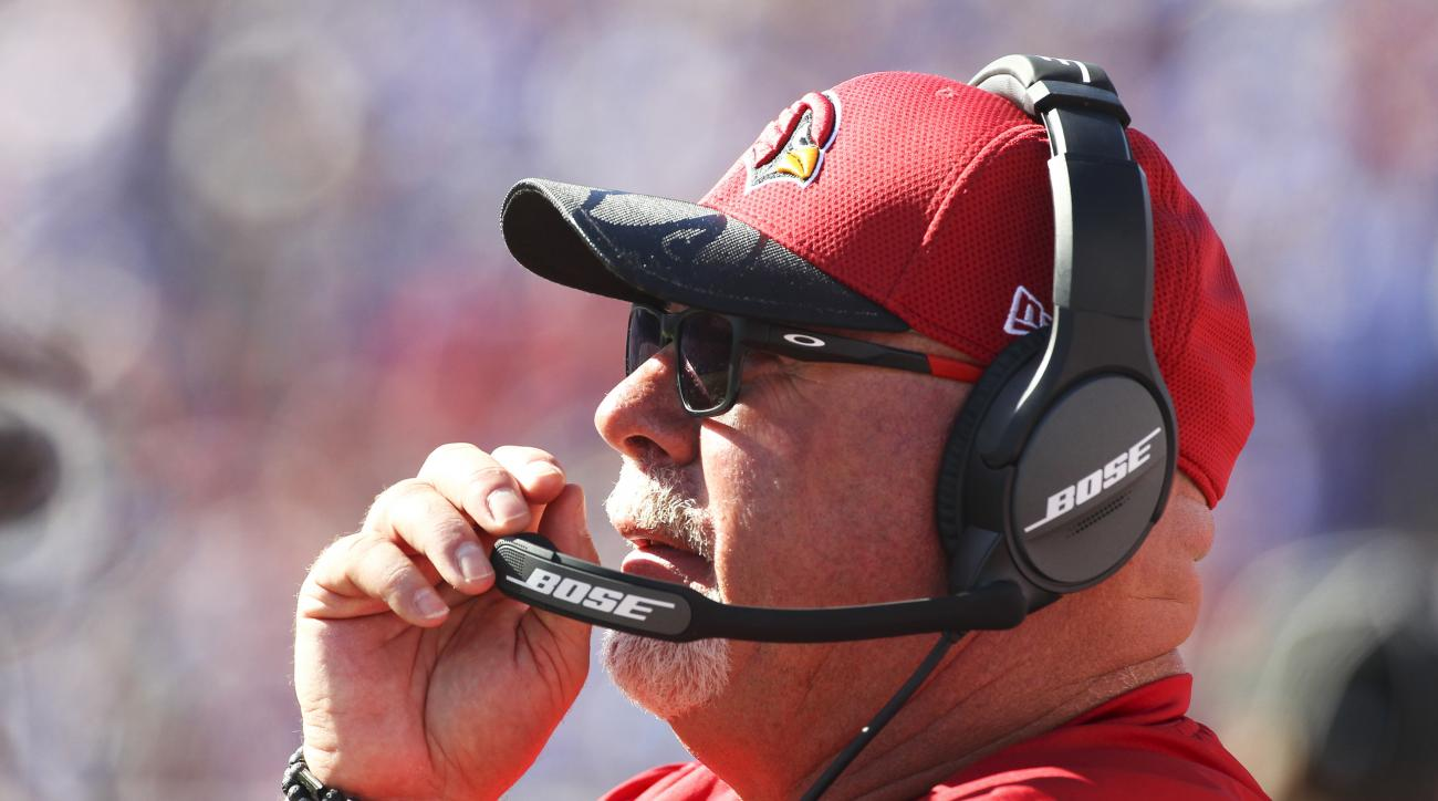 Arizona Cardinals head coach Bruce Arians works on the sideline during the second half of an NFL football game against the Buffalo Bills, Sunday, Sept. 25, 2016, in Orchard Park, N.Y. (AP Photo/Bill Wippert)