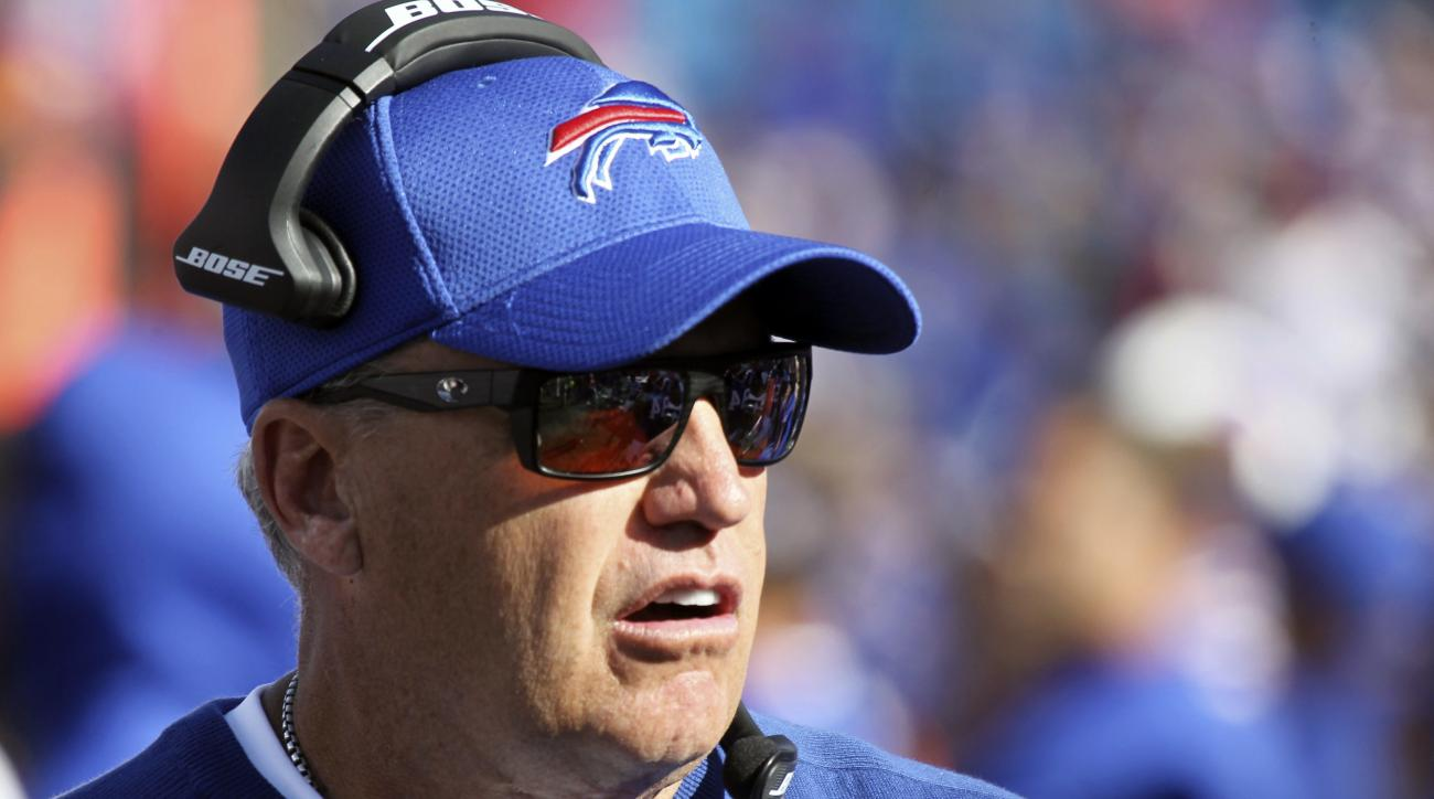 Buffalo Bills head coach Rex Ryan works on the sideline during the second half of an NFL football game against the Arizona Cardinals, Sunday, Sept. 25, 2016, in Orchard Park, N.Y. (AP Photo/Jeffrey T. Barnes)