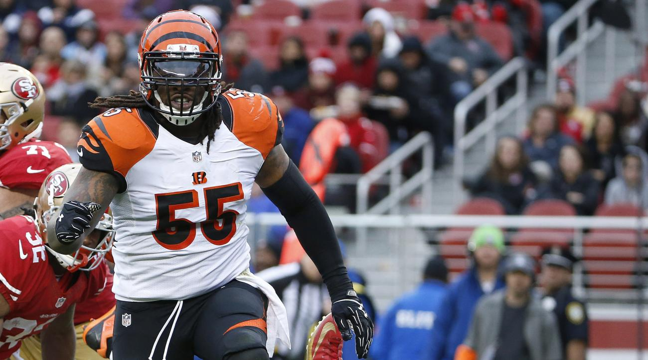FILE - In this Dec. 20, 2015, file photo, Cincinnati Bengals outside linebacker Vontaze Burfict (55) reacts after sacking San Francisco 49ers quarterback Blaine Gabbert (2) during the first half of an NFL football game in Santa Clara, Calif. The Bengals t