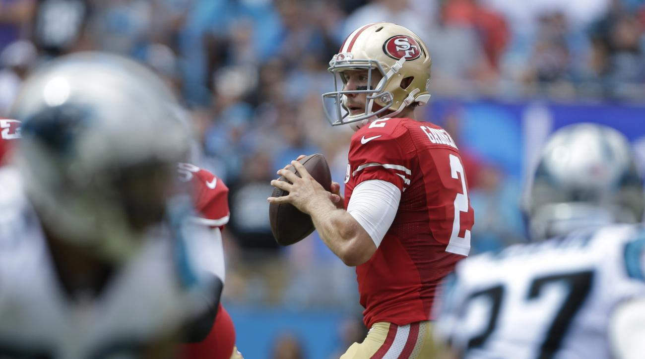 FILE - In this Sept. 18, 2016, file photo, San Francisco 49ers quarterback Blaine Gabbert looks to pass against the Carolina Panthers during an NFL football game in Charlotte, N.C. Gabbert has struggled to get the ball downfield for San Francisco this sea