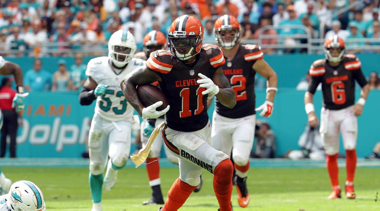 FILE - In this Sunday, Sept. 25, 2016, file photo, Cleveland Browns wide receiver Terrelle Pryor (11) runs the ball during the second half of an NFL football game against the Miami Dolphins in Miami Gardens, Fla. Pryor was a one-man show last week at Miam