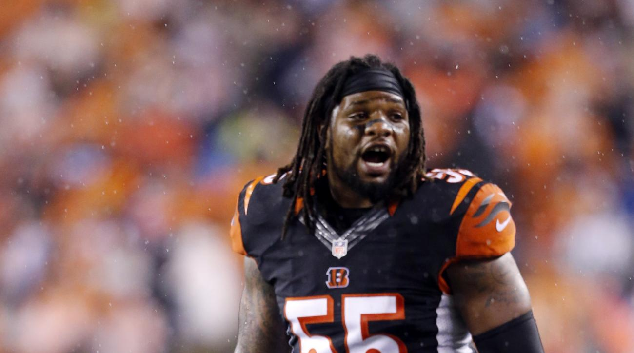 FILE - In this Jan. 9, 2016, file photo, Cincinnati Bengals outside linebacker Vontaze Burfict (55) during the second half of an NFL wild-card playoff football game against the Pittsburgh Steelers in Cincinnati. The Bengals think that they'll improve sign