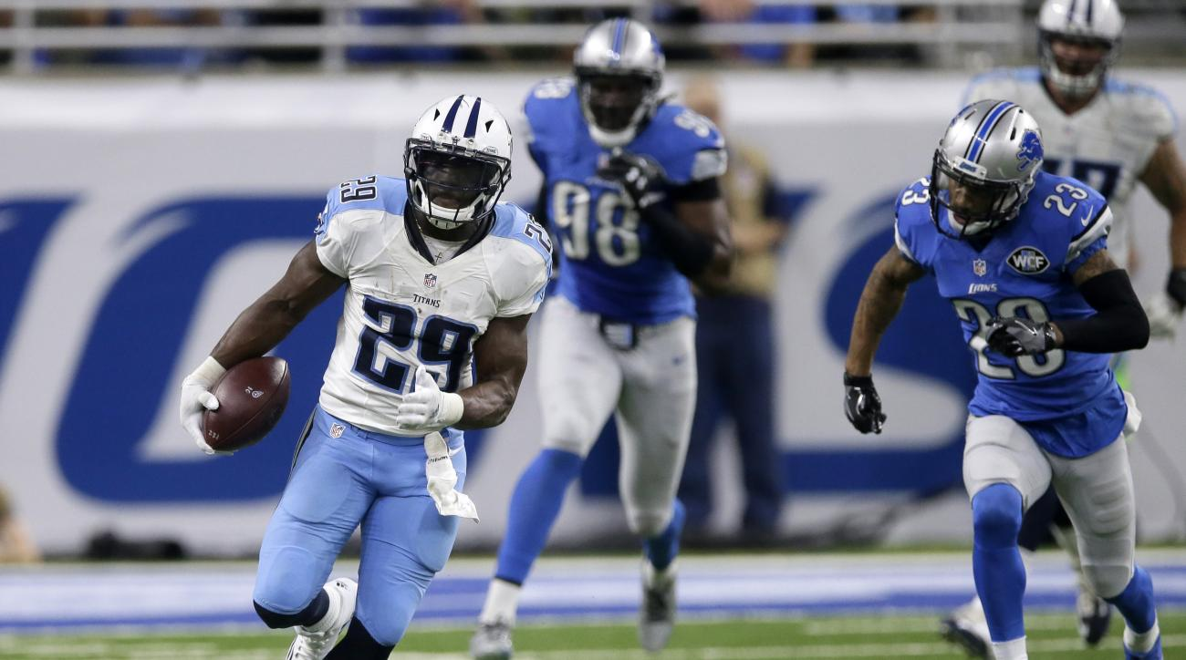 FILE - In this Sept. 18, 2016, file photo, Tennessee Titans running back DeMarco Murray (29) is pursued by Detroit Lions cornerback Darius Slay (23) during the first half of an NFL football game in Detroit. Thanks to the trade bringing him from Philadelph