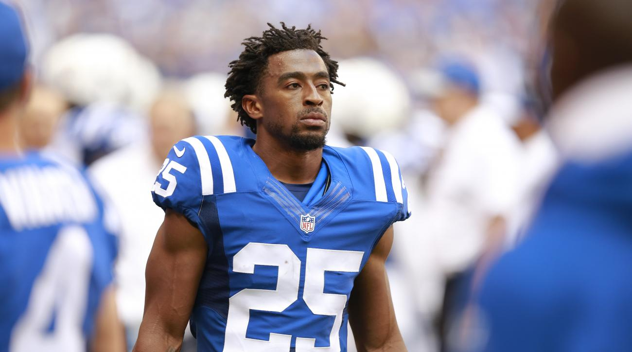 FILE - In this Sept. 11, 2016, file photo, Indianapolis Colts defensive back Patrick Robinson watches from the sideline during the first half of an NFL football game against the Detroit Lions in Indianapolis. The Colts (1-2) were so thin in the secondary