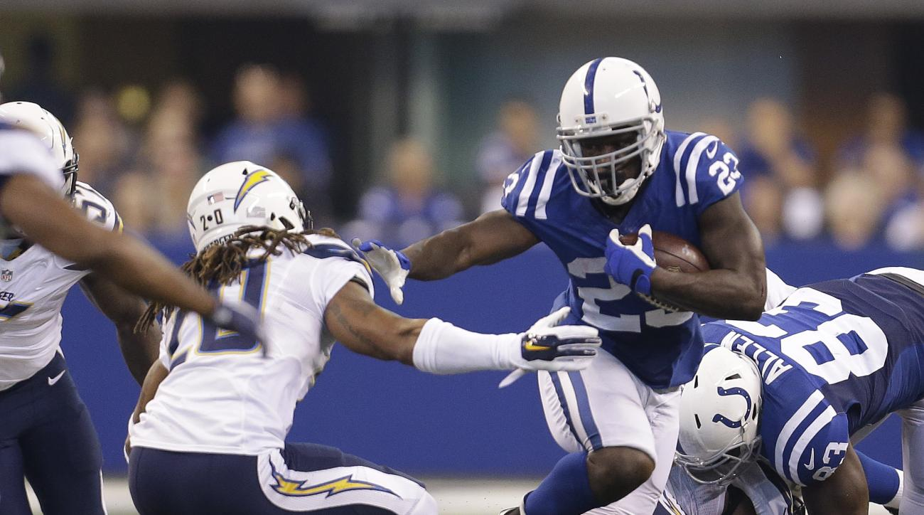 FILE - In this Sept. 25, 2016, file photo, Indianapolis Colts' Frank Gore (23) runs past San Diego Chargers' Dwight Lowery (20) during the first half of an NFL football game, Sunday, Sept. 25, 2016, in Indianapolis. Gore needs 88 yards rushing to pass Hal