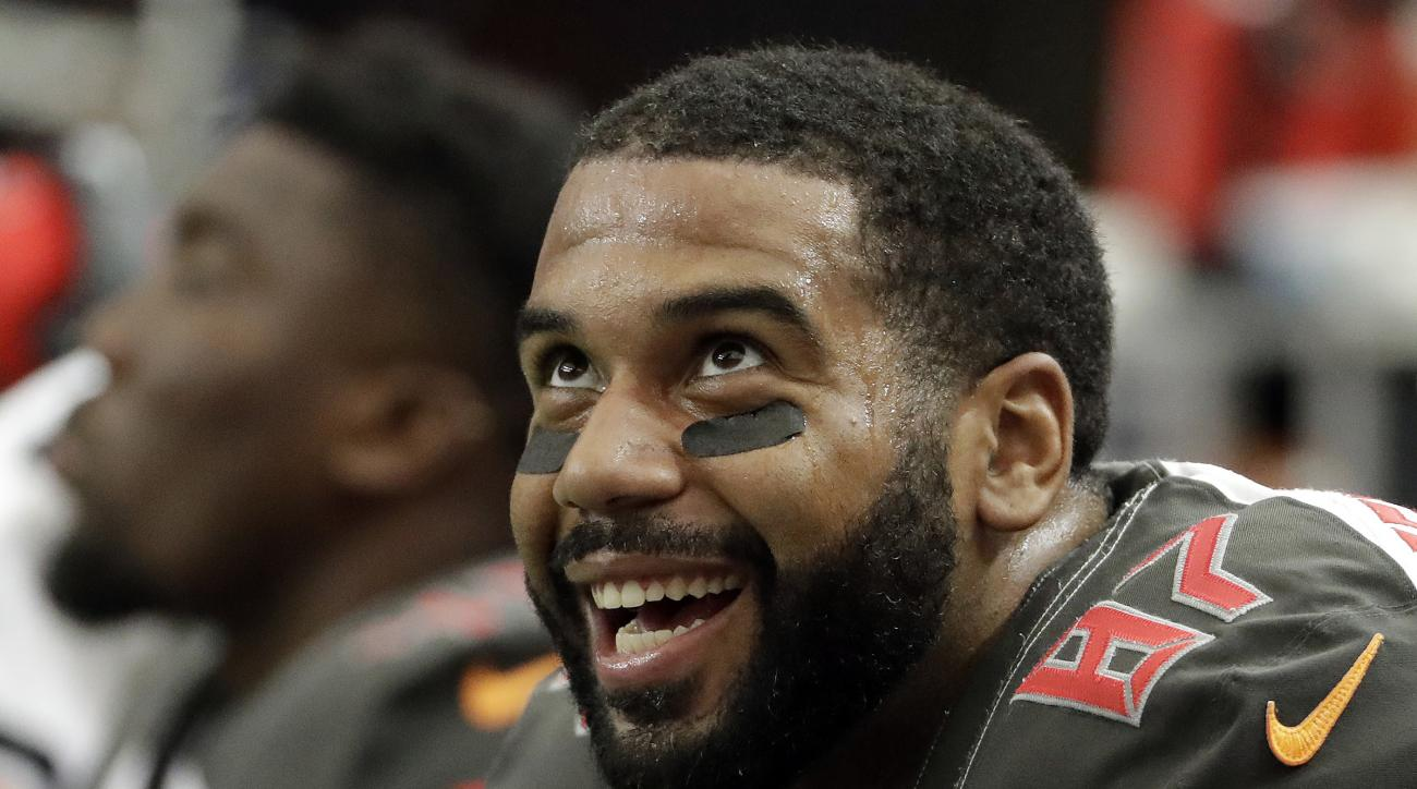 "FILE - In this Sept. 11, 2016, file photo, Tampa Bay Buccaneers tight end Austin Seferian-Jenkins smiles on the sidelines during the second half of an NFL football game against the Atlanta Falcons in Atlanta. Seferian-Jenkins is thankful for a ""once-in-a-"