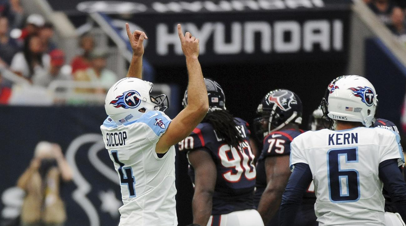 Tennessee Titans kicker Ryan Succop (4) celebrates his field goal against the Houston Texans during the first half of an NFL football game, Sunday, Oct. 2, 2016, in Houston. (AP Photo/George Bridges)