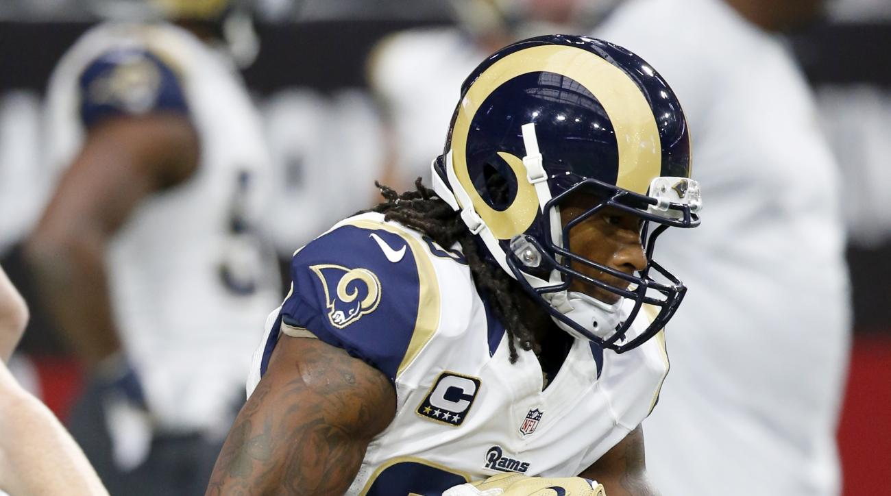 Los Angeles Rams running back Todd Gurley (30) warms up prior to an NFL football game against the Arizona Cardinals, Sunday, Oct. 2, 2016, in Glendale, Ariz.  (AP Photo/Ross D. Franklin)