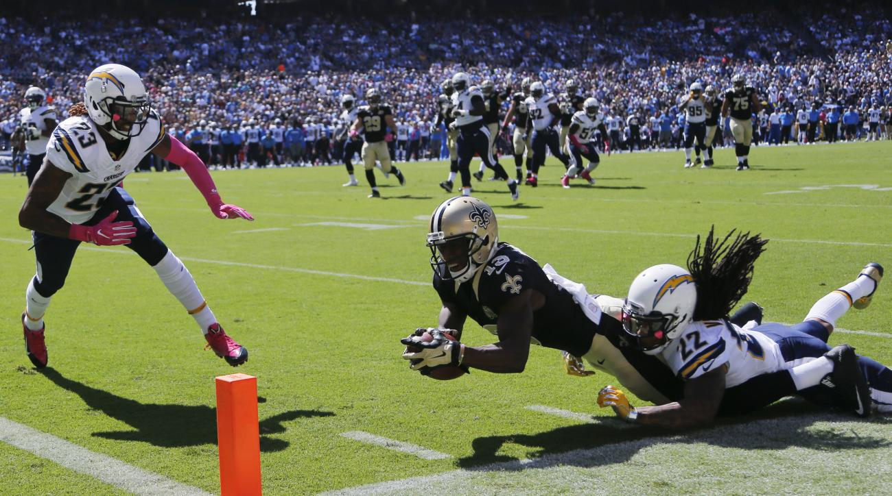 New Orleans Saints wide receiver Michael Thomas is hauled down short of the goal line by San Diego Chargers cornerback Jason Verrett during the first half of an NFL football game, Sunday, Oct. 2, 2016, in San Diego. (AP Photo/Lenny Ignelzi)