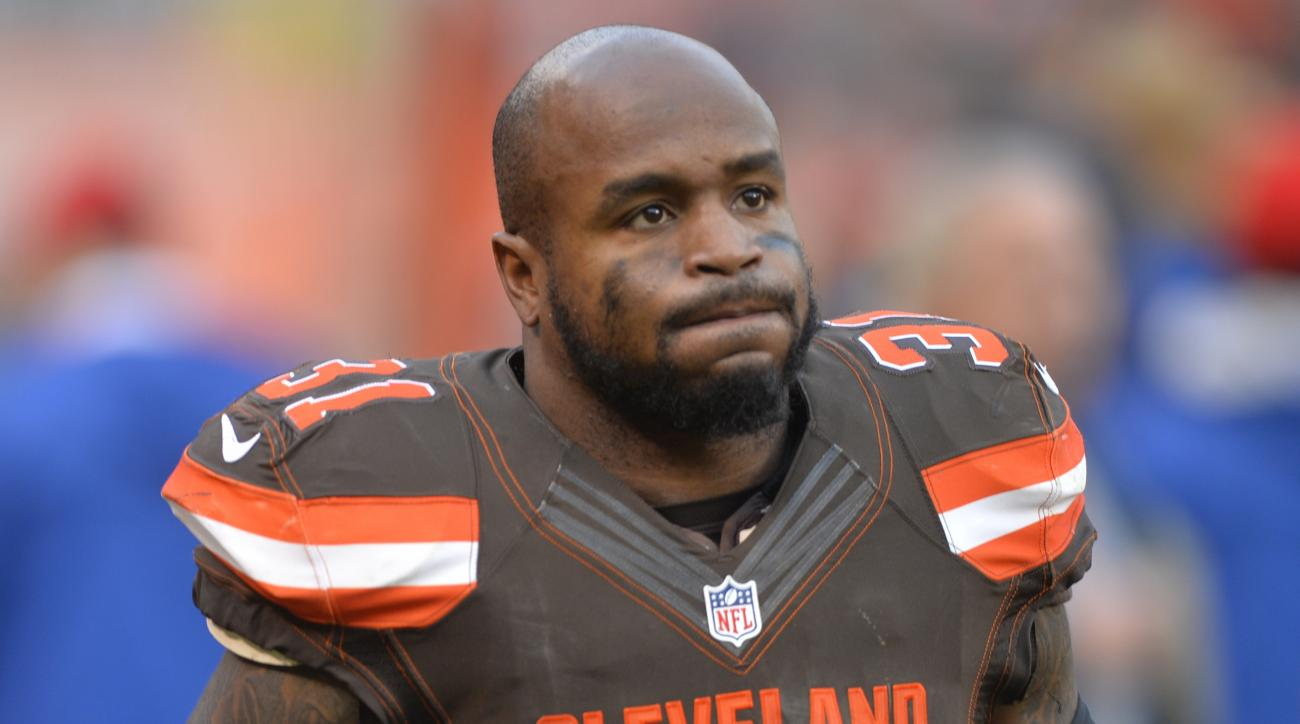 FILE - In this Dec. 6, 2015, file photo, Cleveland Browns strong safety Donte Whitner walks off the field after the team's NFL football game against the Cincinnati Bengals in Cleveland. The Washington Redskins have signed three-time Pro Bowl safety Donte