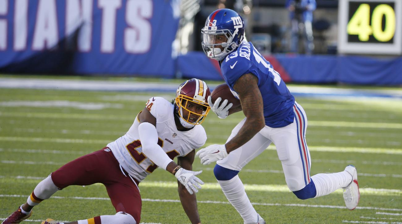 FILE- - In this Sept. 25, 2016, file photo, New York Giants wide receiver Odell Beckham (13) runs away from Washington Redskins' Josh Norman (24) during the second half of an NFL football game in East Rutherford, N.J. In studying Odell Beckham Jr., Green