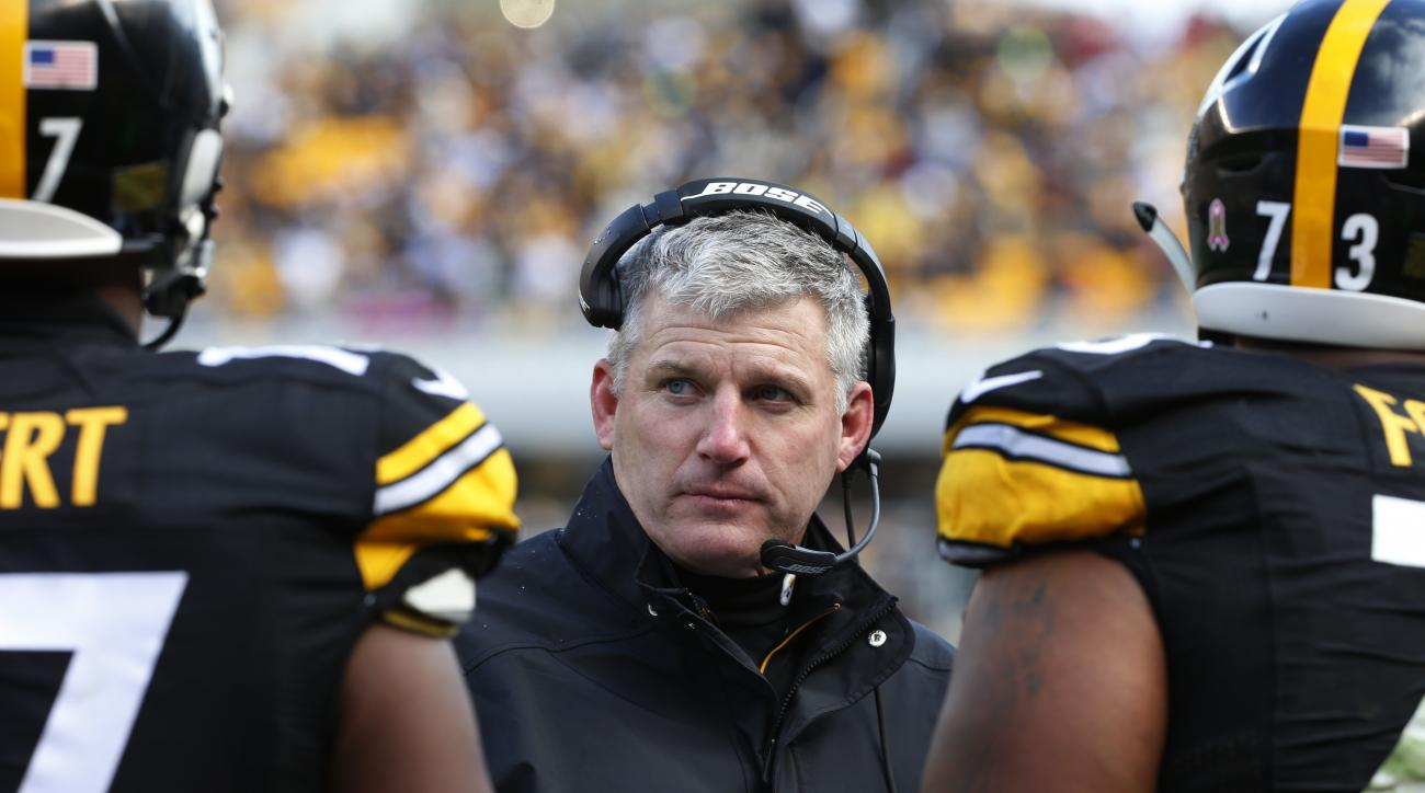 FILE - In this Oct. 18, 2015, file photo, Pittsburgh Steelers offensive line coach Mike Munchak, center, talks to his players  during an NFL football game against the Arizona Cardinals, in Pittsburgh. The Steelers are scrambling along the offensive line a