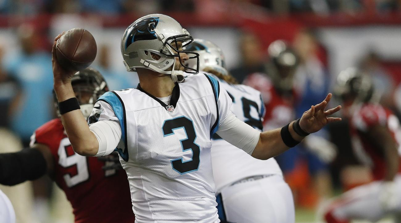 FILE - In this Oct. 2, 2016, file photo, Carolina Panthers quarterback Derek Anderson (3) works against the Atlanta Falcons during the second half of an NFL football game in Atlanta. With Panthers quarterback Cam Newton out with a concussion, Anderson cou