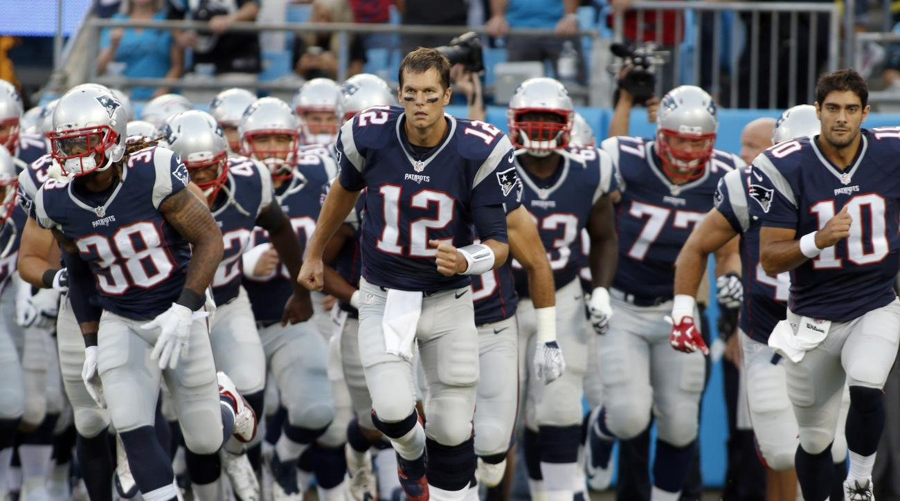 FILE - In this Aug. 28, 2015, file photo, New England Patriots' Tom Brady (12) leads his team onto the field before a preseason NFL football game against the Carolina Panthers in Charlotte, N.C. The last thing the Browns need right now is a ticked-off sup