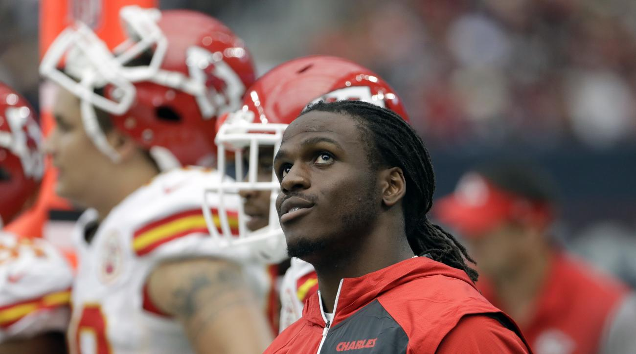 FILE- In this Sunday, Sept. 18, 2016, file photo, Kansas City Chiefs running back Jamaal Charles stands on the sideline during the first half of an NFL football game against the Houston Texans in Houston. The Chiefs stumbled into their bye week with the w