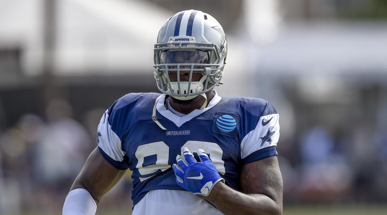Dallas Cowboys defensive end Demarcus Lawrence during practice at the NFL football team's training camp in Oxnard, Calif., Tuesday, Aug. 2, 2016. (AP Photo/Gus Ruelas)